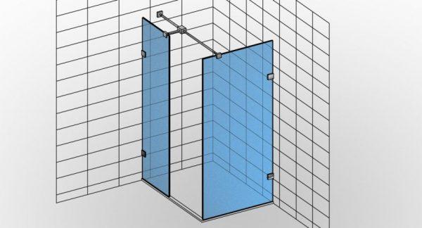 Bezdrzwiowa niestandardowa kabina prysznicowa narożna na wymiar typu Walk-in TYP 9 z otwartym wejściem i dwoma ściankami - KabinyPrysznicowe.com