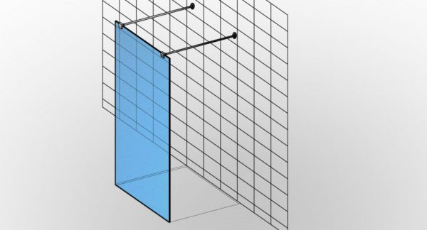 Bezdrzwiowa niestandardowa kabina prysznicowa na wymiar typu Walk-in TYP 15 z otwartym wejściem i pojedynczą ścianką - KabinyPrysznicowe.com