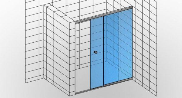Kabina prysznicowa przesuwna na wymiar TYP 18 składająca się z jednej ścianki stałej i równoległych drzwi przesuwnych - KabinyPrysznicowe.com