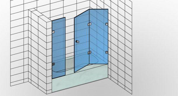 Parawan nawannowy na wymiar TYP 8W zamknięta zabudowa, składająca się z dwóch ruchomych skrzydeł składanych w harmonijkę oraz ścianki stałej - KabinyPrysznicowe.com